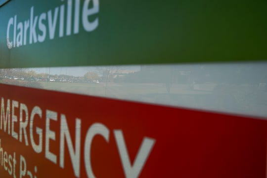 Signs direct visitors to the emergency care entrance at Tennova Healthcare-Clarksville on Oct. 22, 2019.