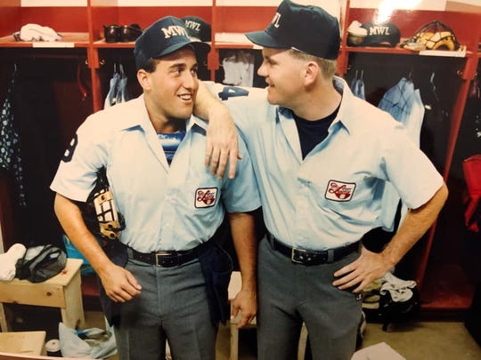 From 1991: Eric Cooper, left, of Des Moines and his partner Mike Everitt of Scottsdale, Arizona, relax in the umpires' locker orom before a Class A Midwest League game in July 1991.