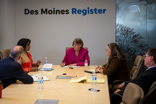 Candidates for City Council-at-large including Jacquie Easley, Sheila Knoploh-Odole, Marlon Mormann, and Carl Voss meet with the Des Moines Register editorial board on Tuesday, Oct. 22, 2019 in Des Moines.