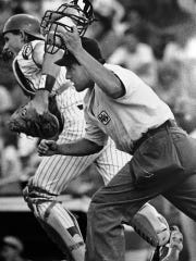 From 1991: Umpire Eric Cooper of Des Moines hustles into position to make a call in a July 1991 game in the Class A Midwest League.