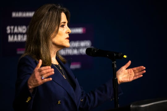 Democratic presidential candidate Marianne Williamson speaks during a campaign event, Tuesday, Oct., 22, 2019, at the Iowa Memorial Union on the University of Iowa campus in Iowa City, Iowa.