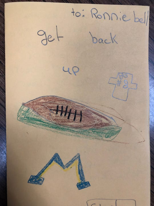 A message to Michigan wide receiver Ronnie Bell from an elementary school student in Riverview.