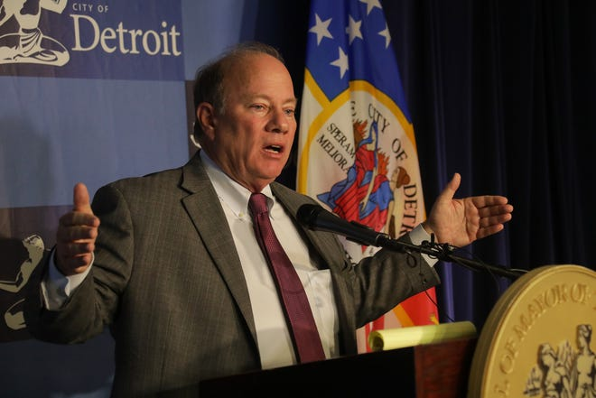 Detroit Mayor Mike Duggan speaks to the media Tuesday, Oct. 22, 2019 regarding the controversy surrounding  Make Your Date run by a woman with close ties to him.