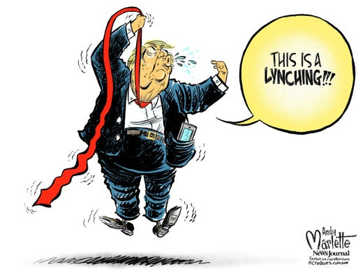 Image result for trump whining about a lynching cartoons