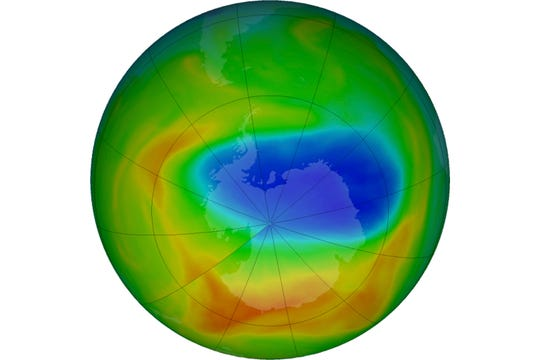 A map of a hole in the ozone layer over Antarctica on Sunday, Oct. 20, 2019. The purple and blue colors indicate the least amount of ozone, and the yellows and reds show the most.