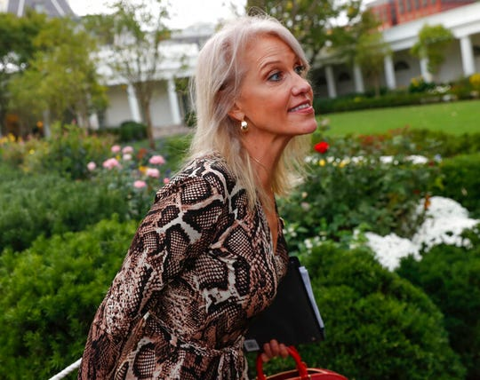 Counselor to the President Kellyanne Conway walks past members of the media in this file photo from Thursday, Oct. 3, 2019. Trump has asked advisers whether Conway would be a good chief of staff, according to people familiar with the matter.