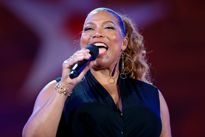 In this Wednesday, July 3, 2019, file photo, Queen Latifah performs during the dress rehearsal for the Boston Pops Fireworks Spectacular in Boston.