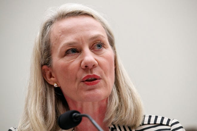 In this Thursday, Sept. 19, 2019, file photo, Alice Wells, acting Assistant Secretary of South and Central Asian Affairs, testifies during a House Foreign Affairs Committee hearing on administration policy in Afghanistan, on Capitol Hill in Washington.