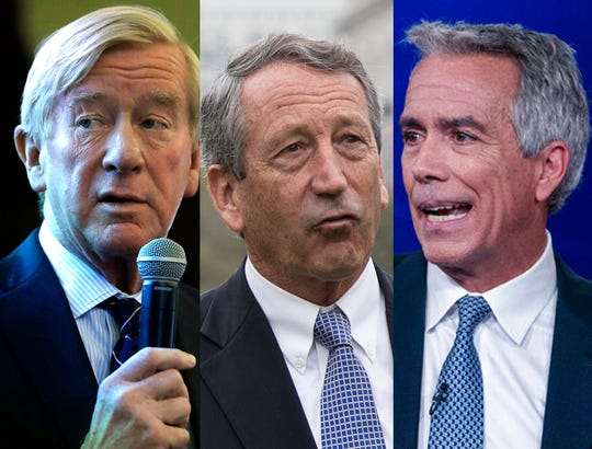 Republican presidential candidates; former Massachusetts Governor Bill Weld, from left, former South Carolina Representative Mark Sanford and former Illinois Representative Joe Walsh will meet Saturday for their first debate.