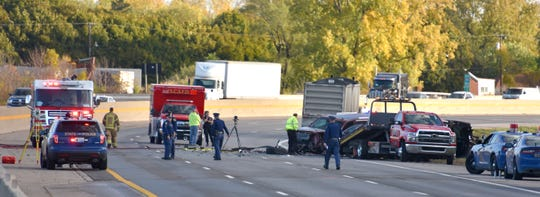Authorities investigate a fatal vehicle accident on I-94 eastbound that has the EB freeway closed at Little Mack in Macomb County, Tuesday morning, October 22.