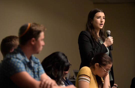 Linzy Upton-Spatz speaks during a panel discussion on a proposed action plan for combating anti-Semitism on campus during the annual Diversity Symposium at Colorado State University in Fort Collins, Colo. on Friday, Oct. 18, 2019.