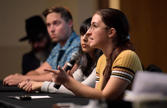Allison Ogul speaks during a panel discussion on a proposed action plan for combating anti-Semitism on campus during the annual Diversity Symposium at Colorado State University in Fort Collins, Colo. on Friday, Oct. 18, 2019. Panelist Matthew Zidebeck, left, vice president of the Jewish student organization Chabad, told attendees he has experienced discrimination on campus.