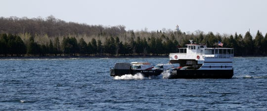 A Washington Island Ferry Line vessel makes the 30-minute trip between Northport and Washington Island on May 17.   Sarah Kloepping/USA TODAY NETWORK-Wisconsin