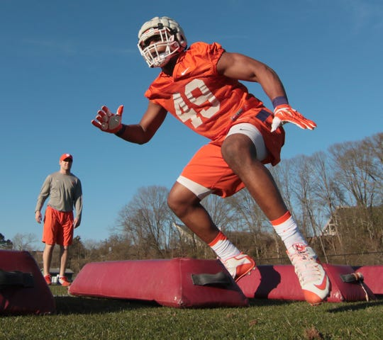 Clemson's Richard Yeargin (49) runs a defense drill during the first day of Spring practice in Clemson in 2016.