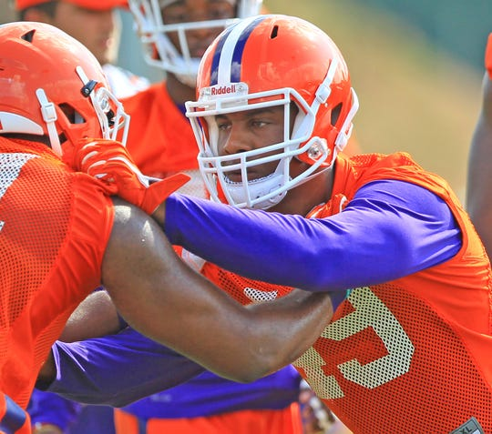 This file photo from 2016 shows Clemson defensive end Richard Yeargin blocking in a drill during practice at the football practice facility in Clemson.