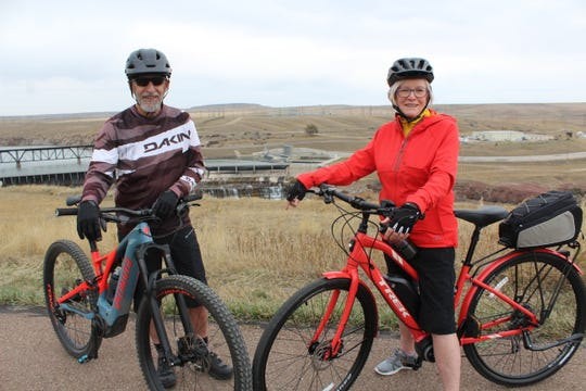 Kern and Bev Lee on their e-bikes