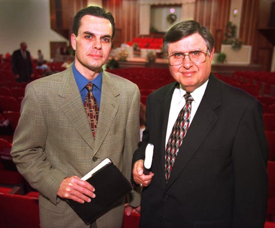 Son and father Greg Dixon (the current pastor) and Greg Dixon the elder one and one of the founding pillars of the Indianapolis Baptist Temple . This was taken before one of the Sunday services on May 10, 1998.