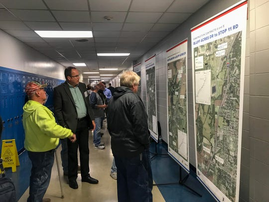 Residents check the I-69 Section 6 maps during the Martinsville open house.