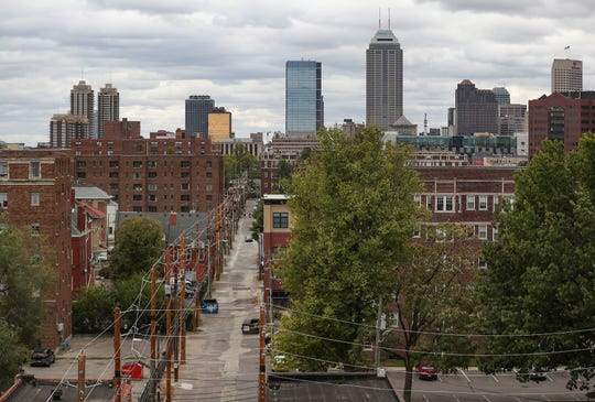 A view of the Indianapolis skyline seen from atop the Penn Arts building