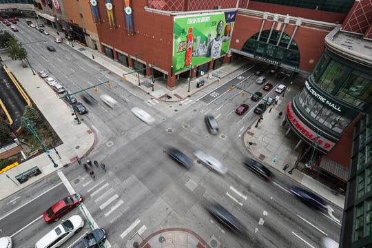 5:15 p.m. — Rush hour traffic moves through the intersection of Maryland Street and Illinois Street in Indianapolis, Wednesday, Oct. 16, 2019.