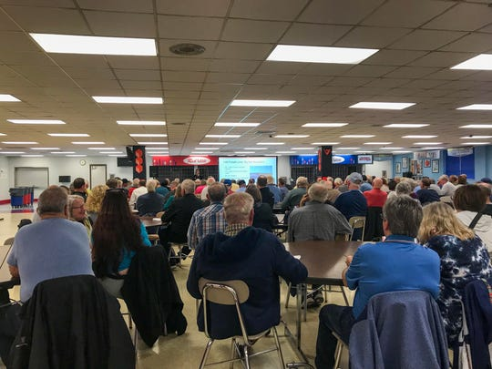 Martinsville residents gather Monday at Martinsville High School to hear updates about the I-69 Section 6 project.