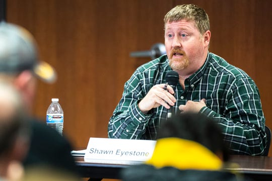 Shawn Eyestone speaks during a school board candidate forum co-hosted by the Iowa City Education Association and the Iowa City Press-Citizen, Monday, Oct., 21, 2019, at the Public Library in Coralville, Iowa.