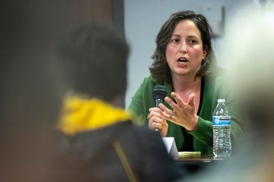 Lisa Williams speaks during a school board candidate forum co-hosted by the Iowa City Education Association and the Iowa City Press-Citizen, Monday, Oct., 21, 2019, at the Public Library in Coralville, Iowa.