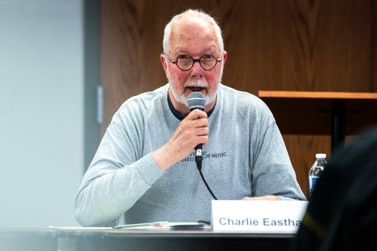 Charlie Eastham speaks during a school board candidate forum co-hosted by the Iowa City Education Association and the Iowa City Press-Citizen, Monday, Oct., 21, 2019, at the Public Library in Coralville, Iowa.