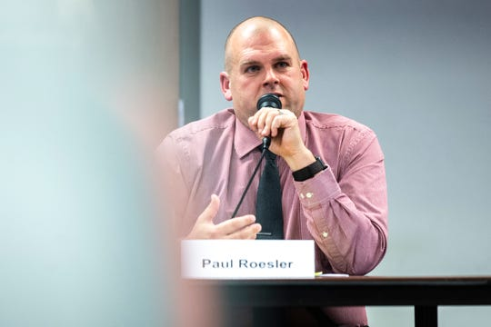 Paul Roesler speaks during a school board candidate forum co-hosted by the Iowa City Education Association and the Iowa City Press-Citizen, Monday, Oct., 21, 2019, at the Public Library in Coralville, Iowa.