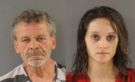 David Dewayne Riffey, left, and Elisha Marie Inman remained jailed in lieu of $50,000 bond each on charges stemming from a brutal attack that preceded the death of the victim, identified as Leonard Dewitt Freeman, arrest warrants state.