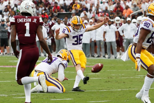 LSU place kicker Cade York (36) kicks a field goal during the first half of their NCAA college football game against Mississippi State in Starkville, Miss., Saturday, Oct. 19, 2019. LSU won 36-13. (AP Photo/Rogelio V. Solis)