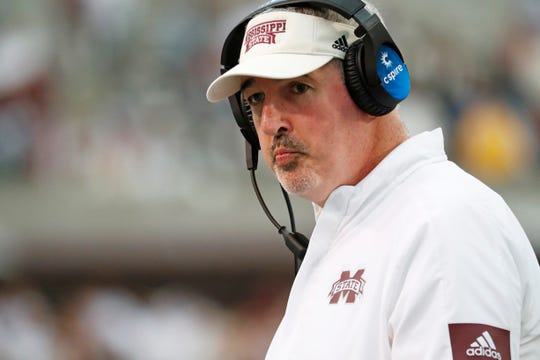 Mississippi State head coach Joe Moorhead looks down field during the second half of an NCAA college football game against LSU in Starkville, Miss., Saturday, Oct. 19, 2019. LSU won 36-13. (AP Photo/Rogelio V. Solis)