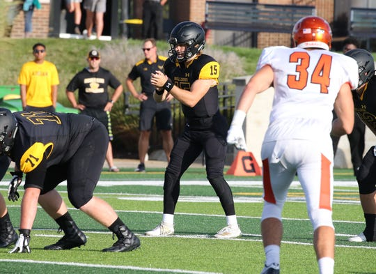 Pinckney graduate Jack Wurzer (15) threw for 25 touchdowns and only 5 interceptions as a freshman at Adrian College.