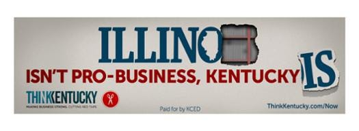 A mock-up of one of the billboards included in the Kentucky governor's office campaign to draw Illinois businesses into the Bluegrass State.