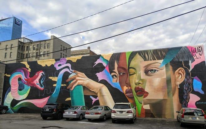 "Street artist ELLE created ""The Devil Is In The Details"" mural Sunday, Oct. 20, 2019, as part of the PRHBTN art festival in Lexington, Kentucky."