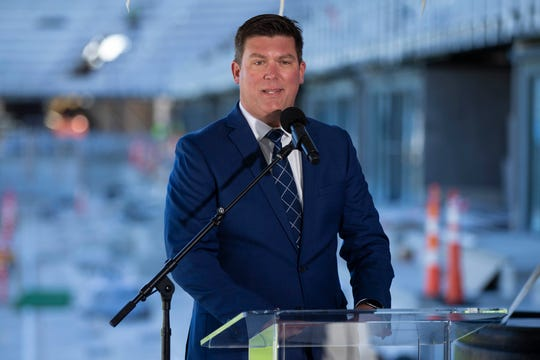Louisville City FC president Brad Estes speaks as Construction continues on the new LouCity FC soccer stadium off Cabel Street as plans for the addition of a womens' National Soccer League team in Louisville were announced Tuesday. Oct. 22, 2019