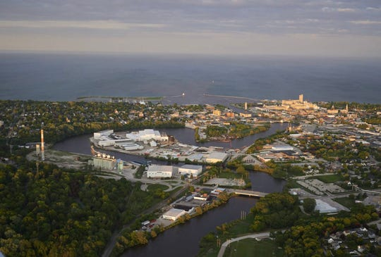 City of Manitowoc view from the sky.