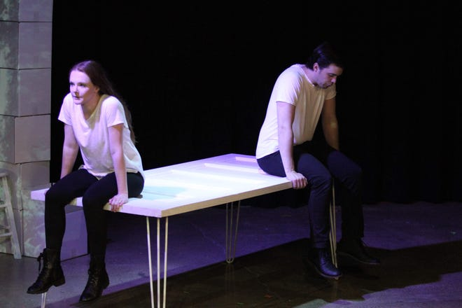 """Matti-Lynn Chrisman and Ryan Shreve rehearse for """"The Last Five Years,"""" showing this weekend at Theatre 166."""