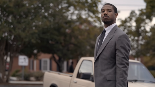 """""""Just Mercy"""" stars Jamie Foxx and Michael B. Jordan. It tells the story of Bryan Stevenson with EJI and his work to free Walter MacMillian from prison."""