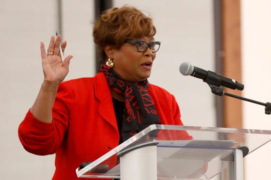 Beverly Robertson, chief executive of the Greater Memphis Chamber, speaks Tuesday, Oct. 22, 2019, during the UpSkill901 workforce summit at the University of Memphis' University Center.