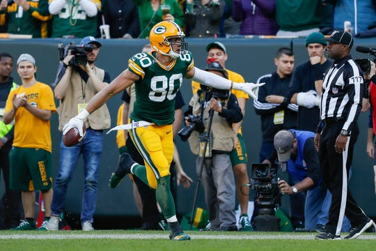 Green Bay Packers tight end Jimmy Graham celebrates a catch for a touchdown during an NFL football game between the Green Bay Packers and Oakland Raiders Sunday, Oct. 20, 2019.