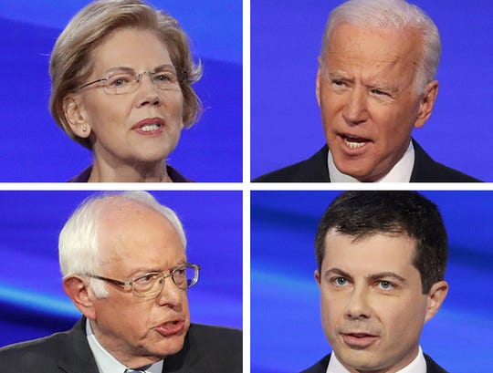 (Clockwise from upper left) Democratic presidential hopefuls Sen. Elizabeth Warren; former Vice President Joe Biden; Pete Buttigieg, the mayor of South Bend, Ind.; and Sen. Bernie Sanders.