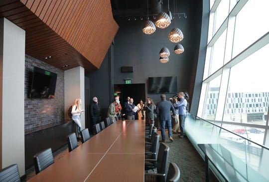 Milwaukee Bucks and Fiserv Forum President Peter Feigin talks to the media in the new conference lounge.