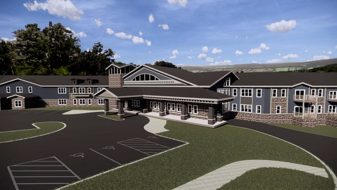 A rendering shows the proposed design of a 120-unit senior living facility that would be built on the site of the former Tess Corners Elementary School in Muskego. The facility would contain 80 independent living units, 20 assisted-living units and 20 memory care units.