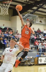 Viola's Gage Harris goes up for two against Pangburn on Monday night.