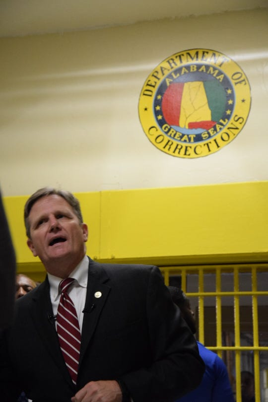 Alabama Department of Corrections Commissioner Jeff Dunn speaks in Holman Correctional Facility on Oct. 22, 2019.