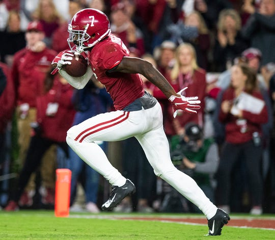 Alabama defensive back Trevon Diggs (7) returns a fumble 100 yards for a touchdown against Tennessee at Bryant-Denny Stadium in Tuscaloosa, Ala., on Saturday October 19, 2019.