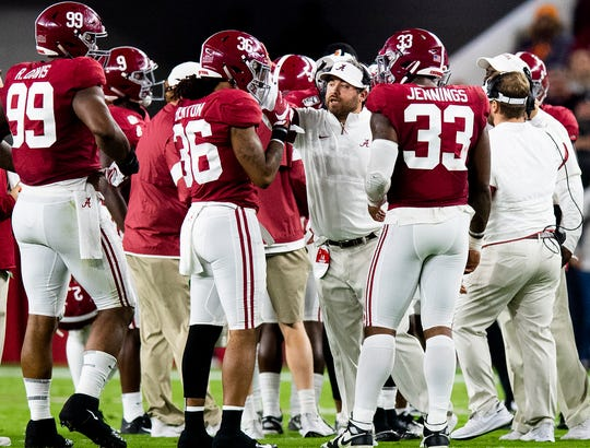 Alabama defensive coordinator Pete Golding works with his players against Tennessee at Bryant-Denny Stadium in Tuscaloosa, Ala., on Saturday October 19, 2019.