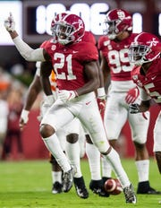 Alabama defensive back Jared Mayden (21) celebrates an interception against Tennessee at Bryant-Denny Stadium in Tuscaloosa, Ala., on Saturday October 19, 2019.