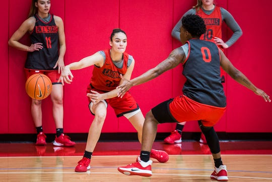 Ball State's Estel Puiggros makes a pass while practicing with teammates at the Dr. Don Shondell Practice Center Tuesday, Oct. 22, 2019.